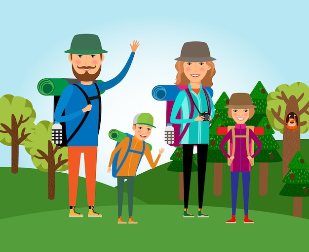 Nature tourism. family at the forest illustration. lifestyle and people, outdoor journey, mother and daughter, father and son Free Vector