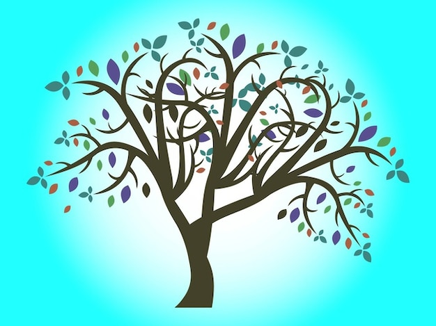 Nature tree colorful branches vector
