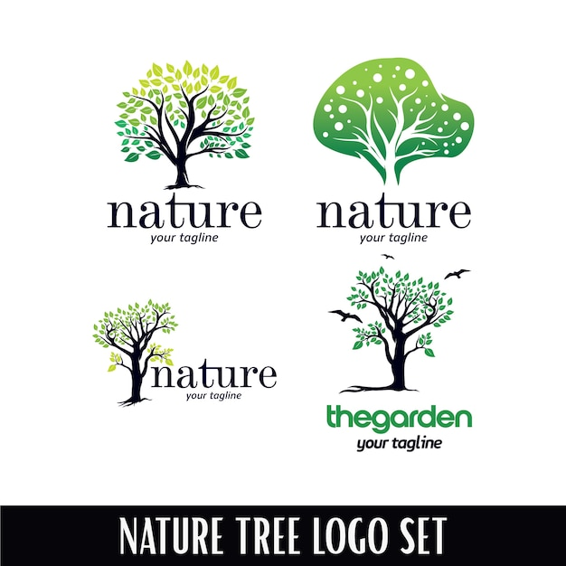 Nature tree logo template Premium Vector