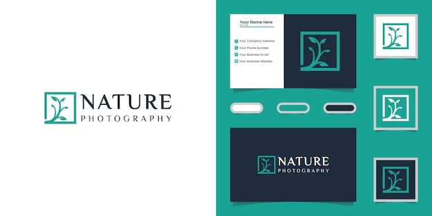 Nature tree photography logo template and business card Premium Vector
