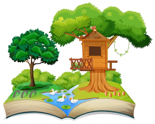 Nature treehouse on open book Premium Vector
