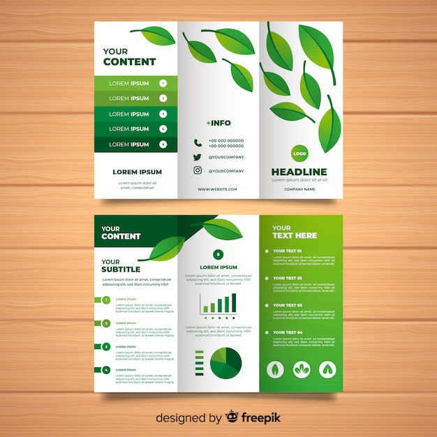 Nature trifold brochure Free Vector