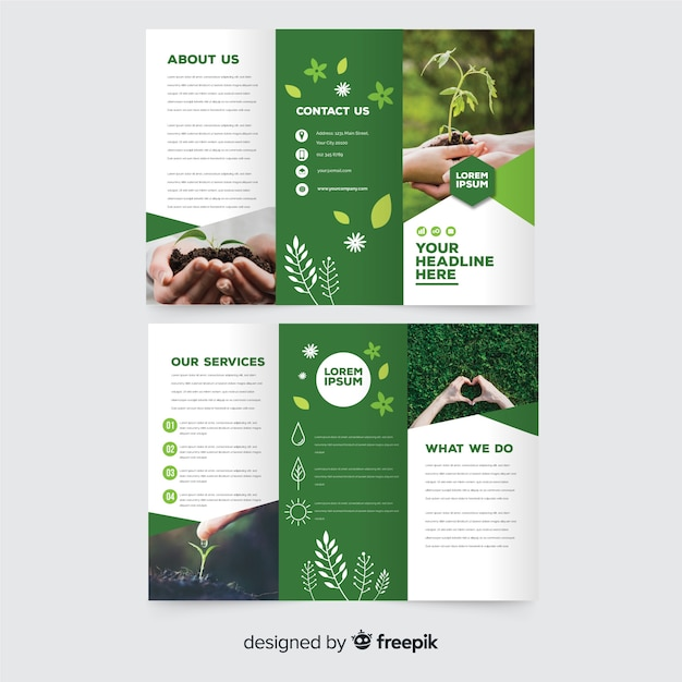 Nature trifold flyer template Free Vector