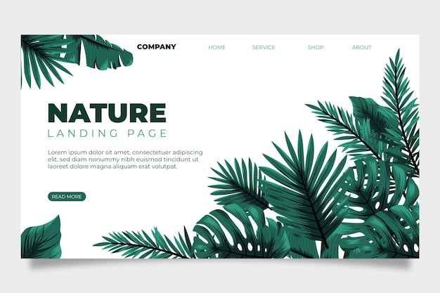 Nature and tropical leaves landing page Free Vector