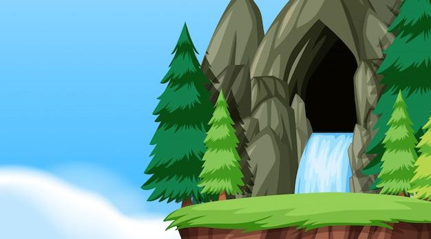 A nature water cave landscape Premium Vector