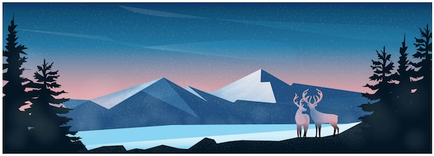 Nature winter landscape background with mountain and deer Premium Vector