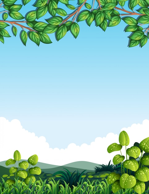 Nature with tree leaves Premium Vector