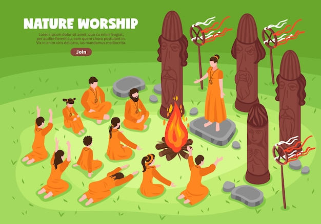 Nature worship isometric background Free Vector