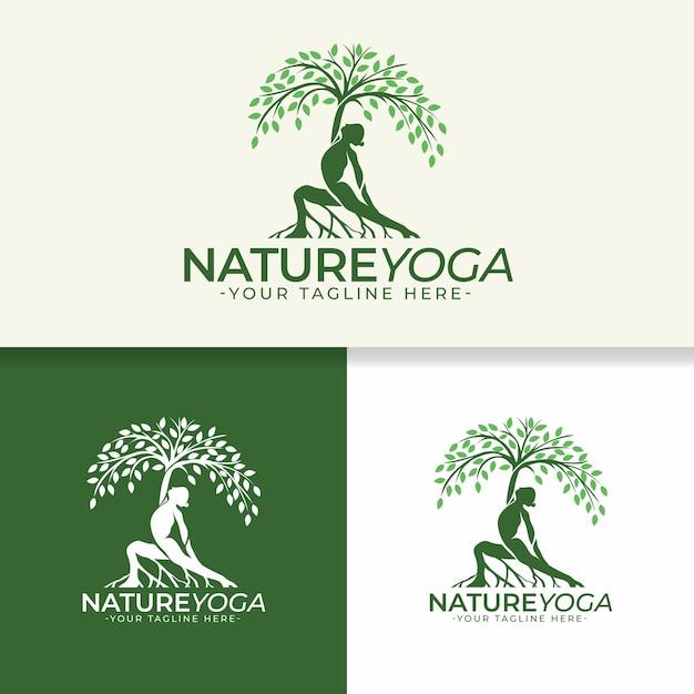 自然ヨガのロゴのテンプレート Premiumベクター