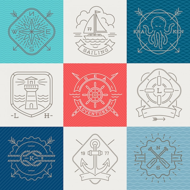 Nautical, adventures and travel emblems signs and labels - line drawing  illustration Premium Vector