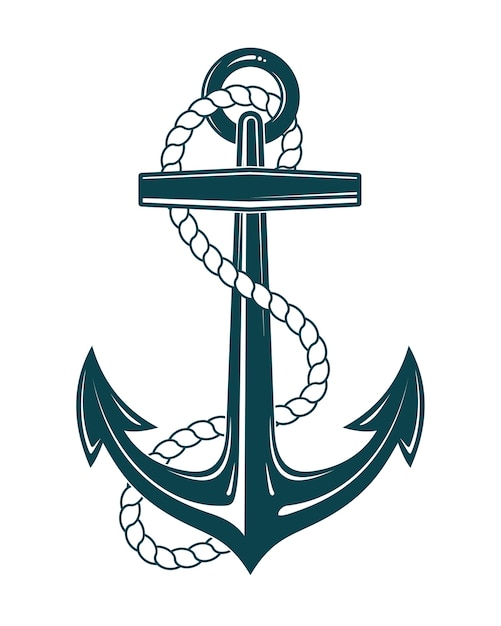 Морской якорь с веревкой Premium векторы
