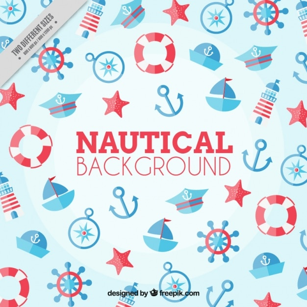 Nautical background, red and blue color Vector | Free Download