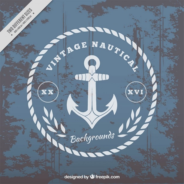 nautical background with anchor in vintage style vector