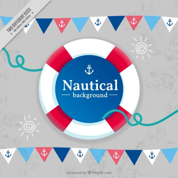 Nautical background with garlands and life preserver Premium Vector