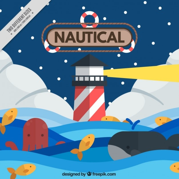 Nautical background with a lighthouse and an octopus Free Vector