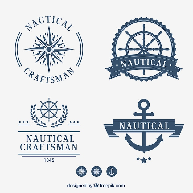 Nautical badge collection Free Vector