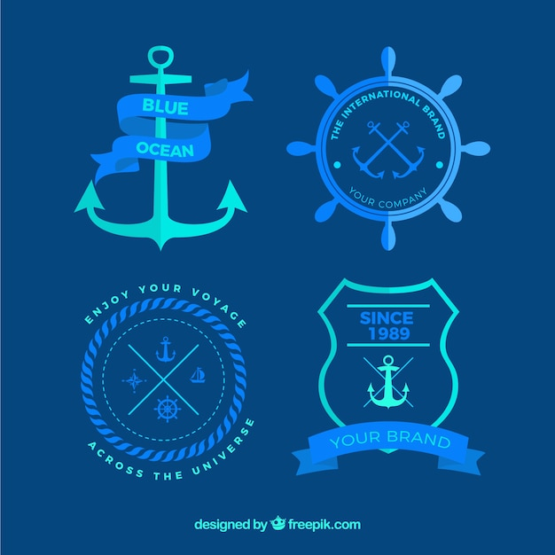 Nautical badges in blue colors Premium Vector