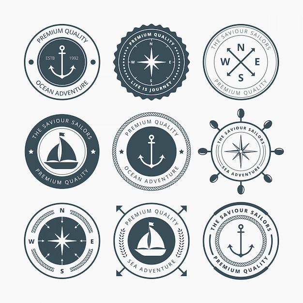 Nautical badges design Premium Vector
