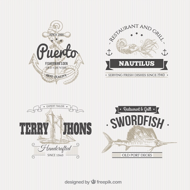 Nautical badges in illustration style Free Vector