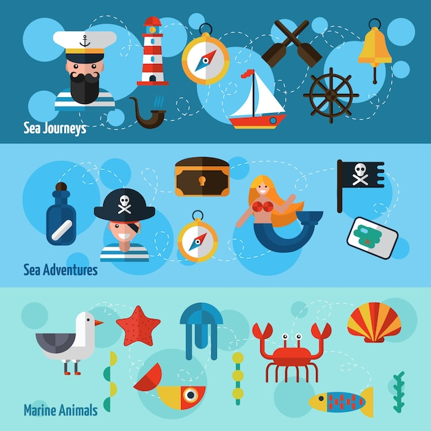 Nautical banners set Free Vector