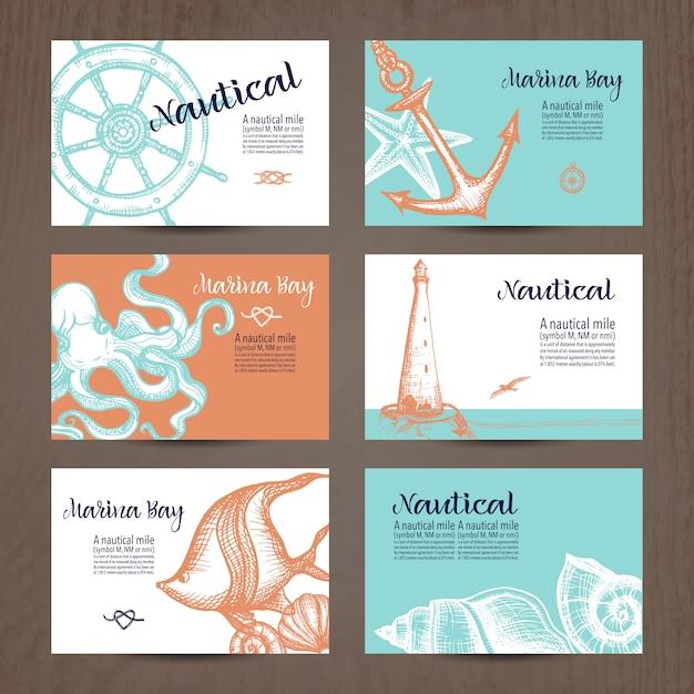 Nautical card set Free Vector