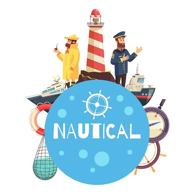 Nautical cartoon concept Free Vector