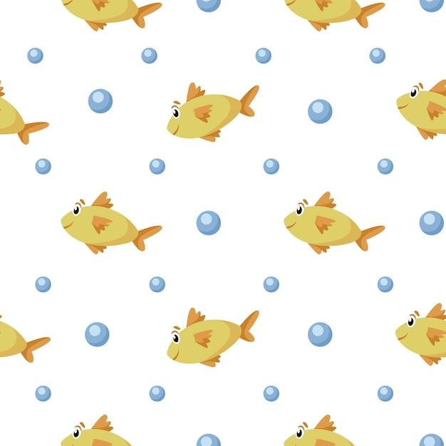해상 만화 원활한 패턴-귀여운 황금 물고기와 거품 원활한 디지털 종이, 어린이 섬유, 스크랩북, 포장지에 대한 보육 해양 또는 해저 동물 배경 프리미엄 벡터