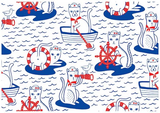 Nautical cats seamless pattern Premium Vector