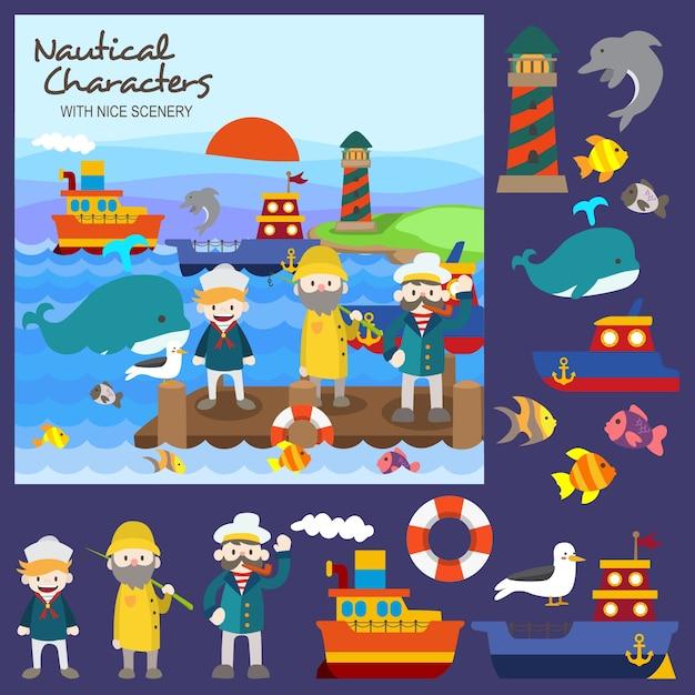Nautical characters Premium Vector