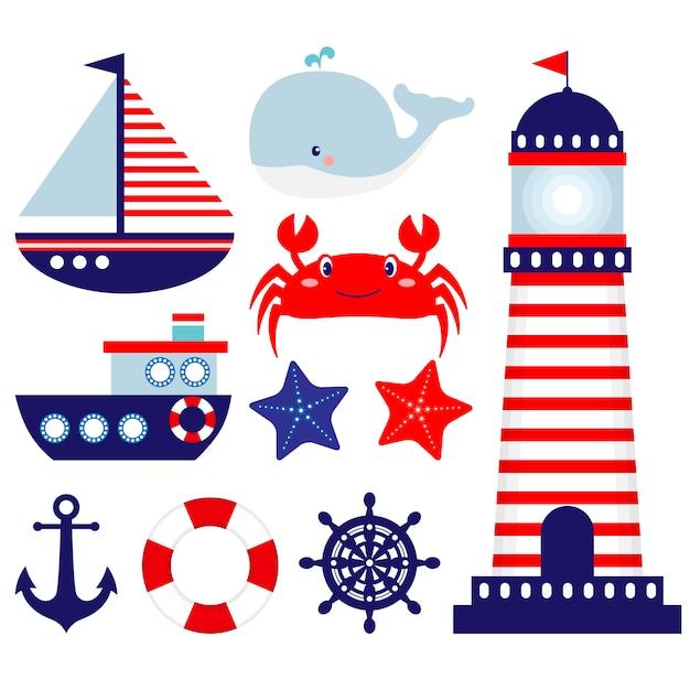 Nautical clip art set Premium Vector
