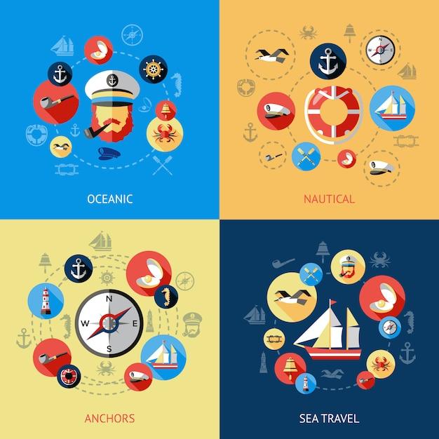 Набор морских цветных композиций и океанических морских якорей морских путешествий описания векторные иллюстрации Premium векторы
