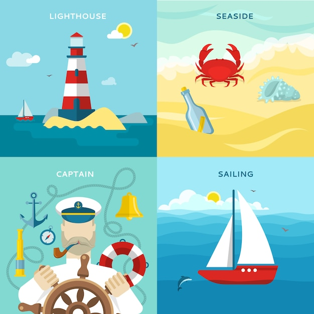 Nautical colored icon set Free Vector