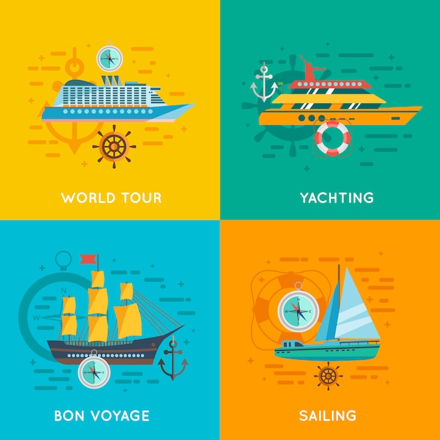 Nautical concept flat icons square Free Vector