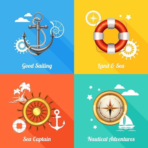 Nautical design concept 4 flat icons Free Vector