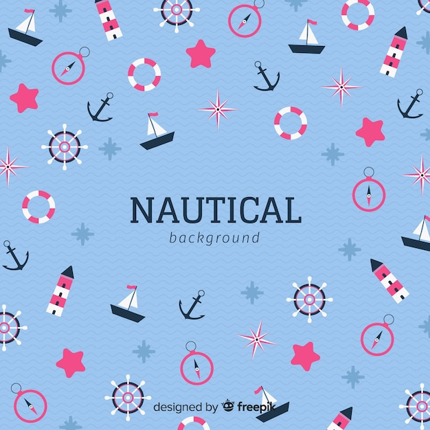 Nautical elements background Free Vector