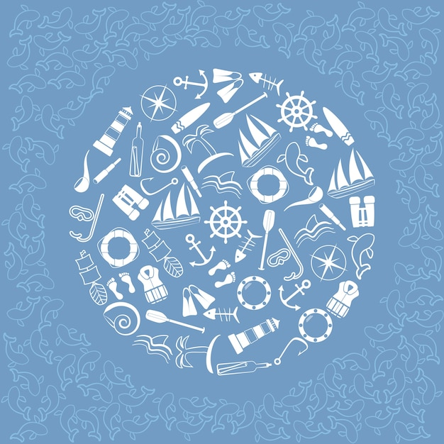 Nautical elements in circle. Premium Vector