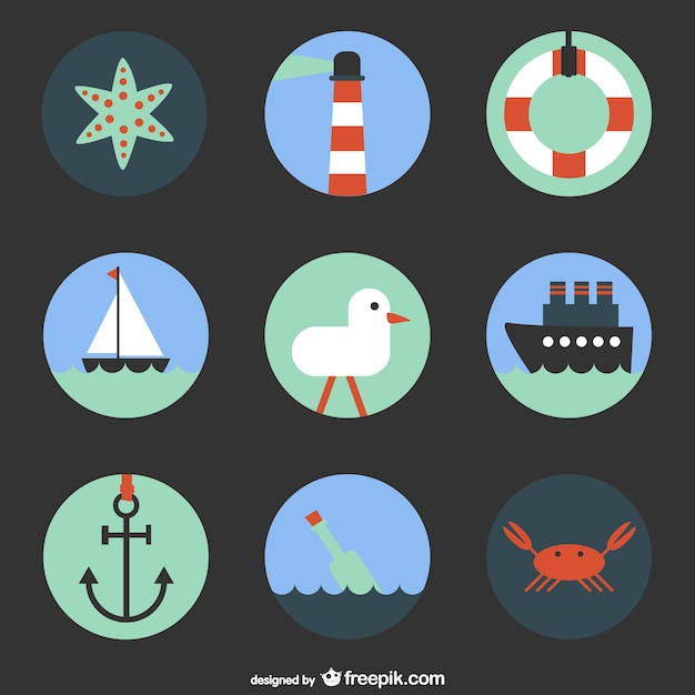 Nautical elements collection with a boat and an anchor Free Vector