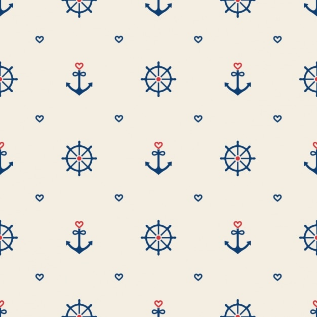 Key Elements Of Nautical Style: Nautical Elements Pattern Design Vector