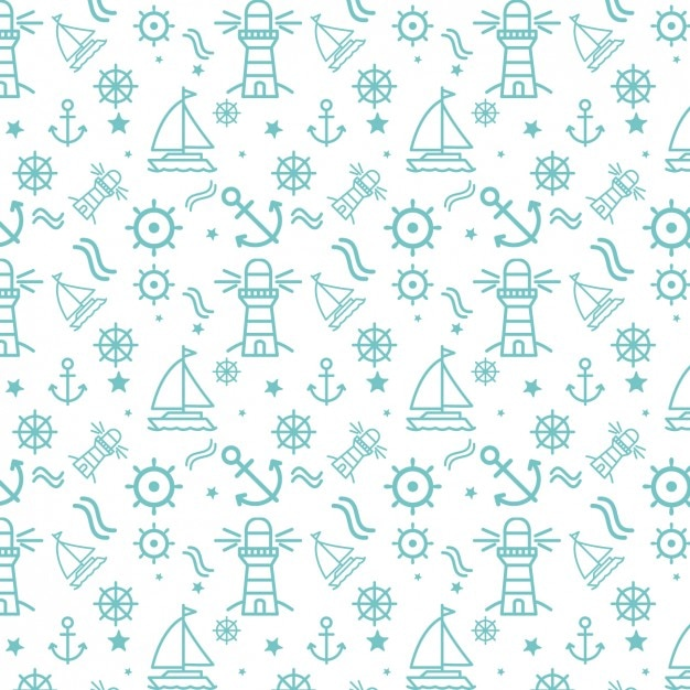 Nautical elements pattern Free Vector