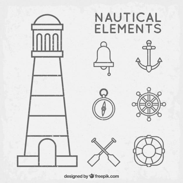 Nautical elements set with outline Premium Vector