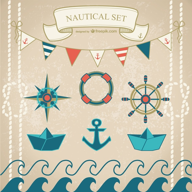 Nautical elements with paper boats Free Vector