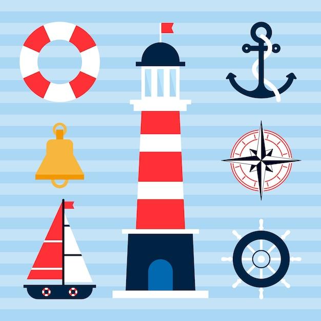 Nautical elements Premium Vector