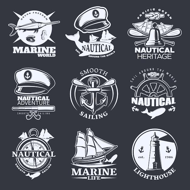 Nautical emblem set on black with marine world nautical sail around the world smooth sailing descriptions Free Vector