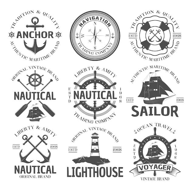 Nautical emblem set Free Vector