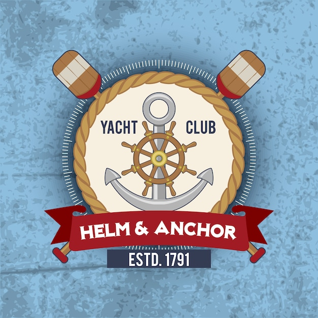 Nautical emblem vintage Free Vector