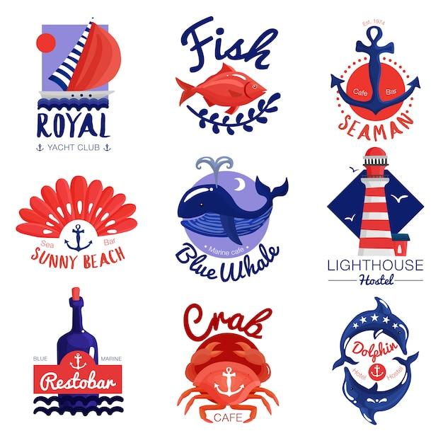 Nautical emblems set Free Vector