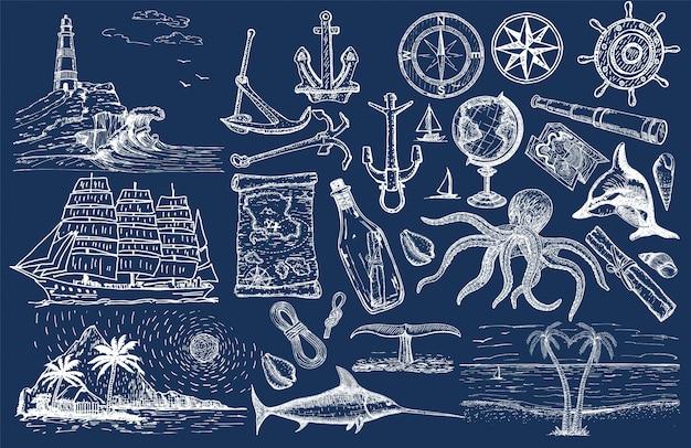 航海手描きセット。セーリングのスケッチ。海洋オブジェクトをベクトルします。 Premiumベクター