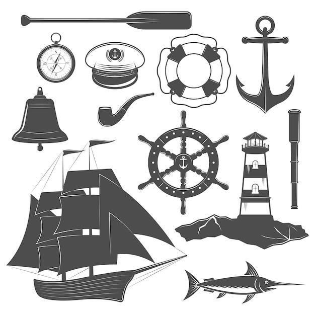 Nautical icon set Free Vector