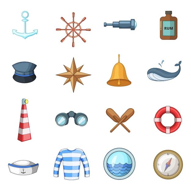 Nautical icons set Premium Vector