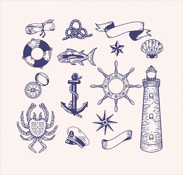 Морские иллюстрации картинки набор. гравированные старинные морские элементы для дизайна логотипа и брендинга. капитан, морское путешествие, морские существа, пляж, корабельное снаряжение Premium векторы